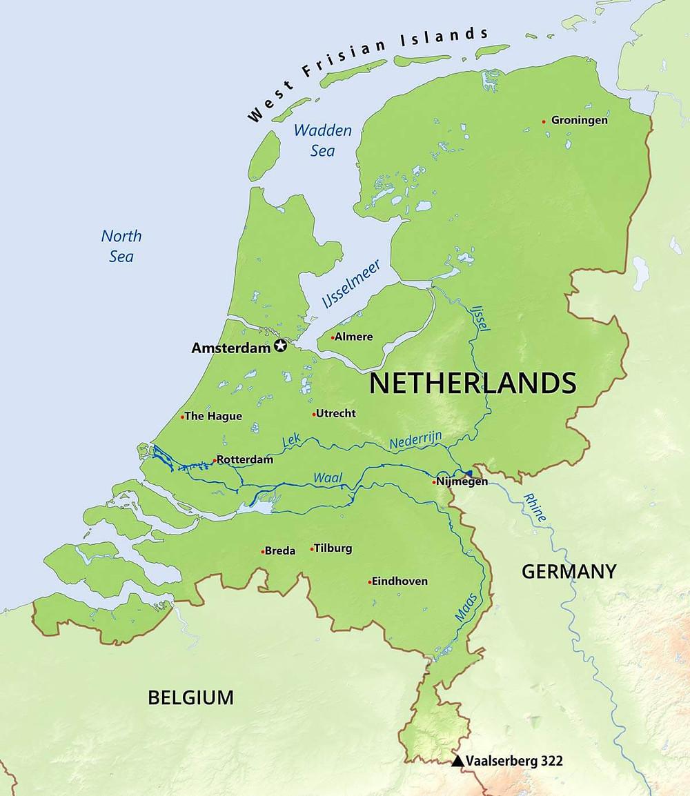 Map of the Netherlands (Holland), ancestral home of Mark-Paul Gosselaar. Hollywood Ancestry - Mike Batie