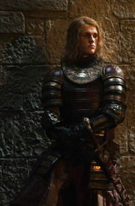 Eugene Simon as invested Knight Lancel Lannister in Game of Thrones.