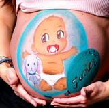 Belly painting - bebe y muñeco en globo - sandra robledo ilusion art - tarragona