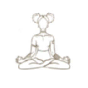 Woman with afro puffs in sukhasana pose