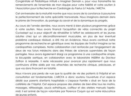 Lettre du Professeur Damien Bonnet aux donateurs de l'ARCFA