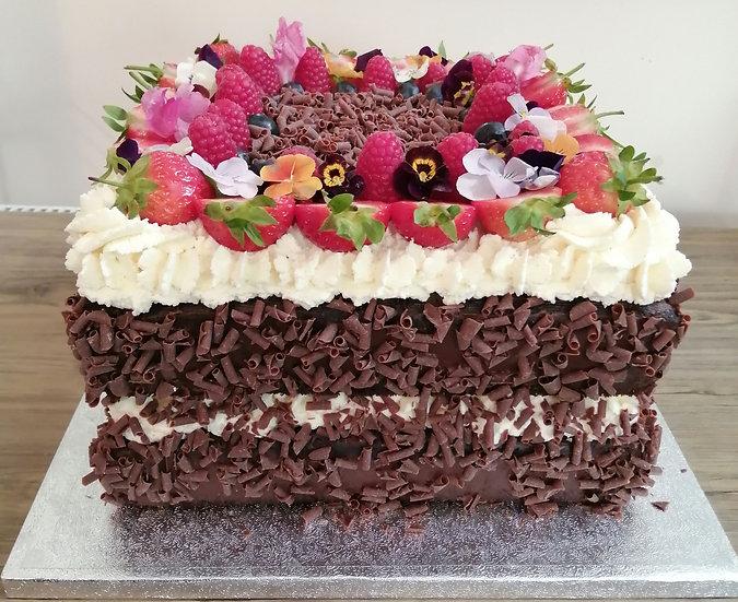 "9"" Square Chocolate Cream and Berries Cake (Deep)"