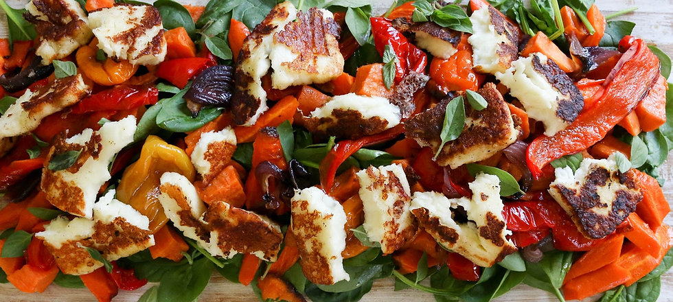 Roasted Vegetable and Halloumi Salad for 10