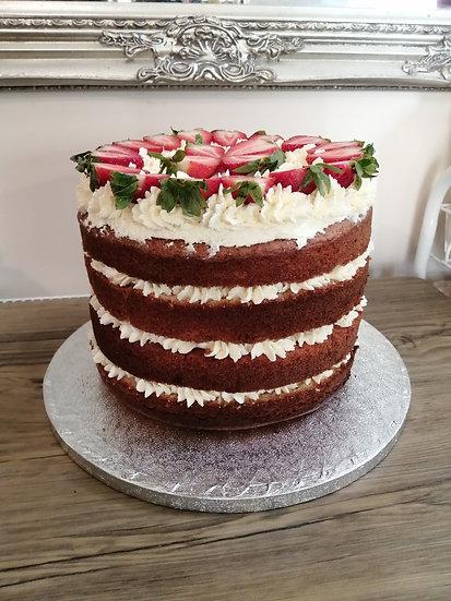 """10"""" Vanilla Fresh Cream and Strawberry Cake"""