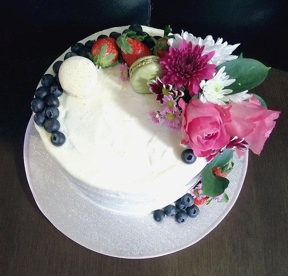 VEGAN 8 Inch Buttercream Berry Rose cake