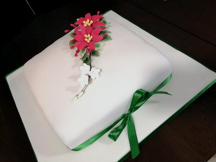 "Sponge Cake Decorated in Poinsetia Sugar Flowers (8"")"