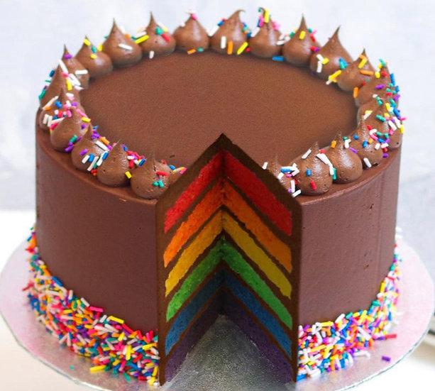 8 Inch Chocolate Rainbow Cake Cake