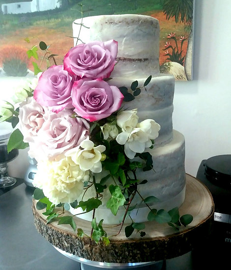 3 Tier Small Semi Naked Floral Wedding Cake