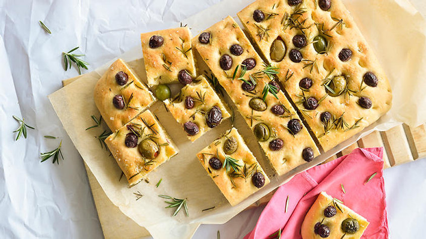 Large Olive & Rosemary Focaccia Bread - 1.5 inch thick