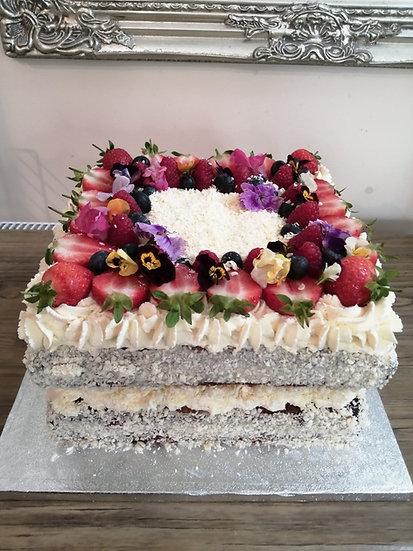 "9"" Square Vanilla Cream and Berries Cake (Deep)"