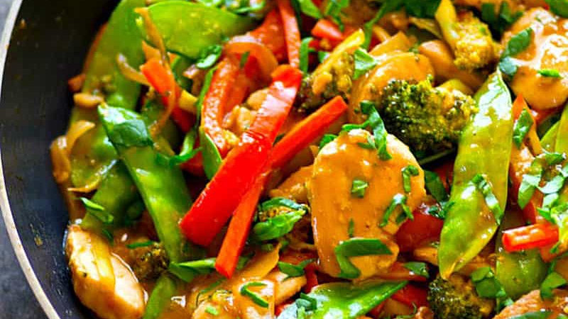 Chicken Satay Stir Fry with Rice