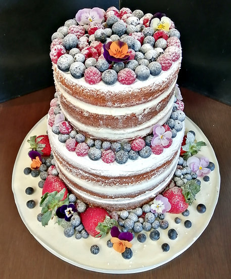 2 Tier Naked Dusted Berries Wedding Cake