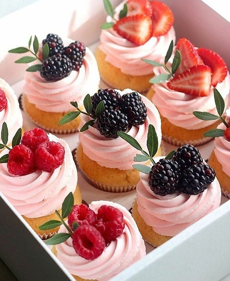 Vegan Berry Swirl Luxury Cupcake Box - 6