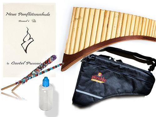 Panflöte S22 Töne/Rohre mit Tasche, Pflegeset, CD, Lernbuch- Starter Set