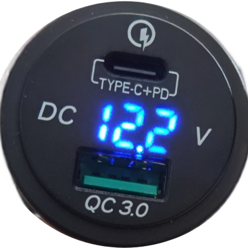 USB QC 3.0 and Voltmeter with Type C +PD