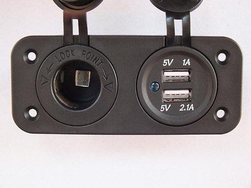 Double USB and 12VDC Socket Flush Mount