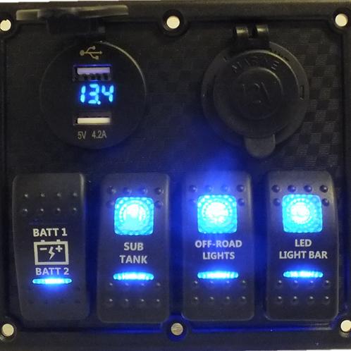 4 Switch  2 socket Panel Dual Volt/USB