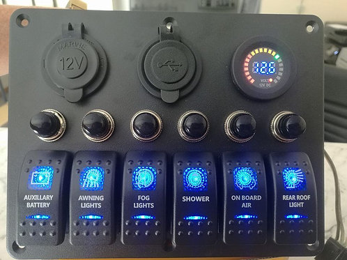 6 Switch  3 socket Panel with breakers