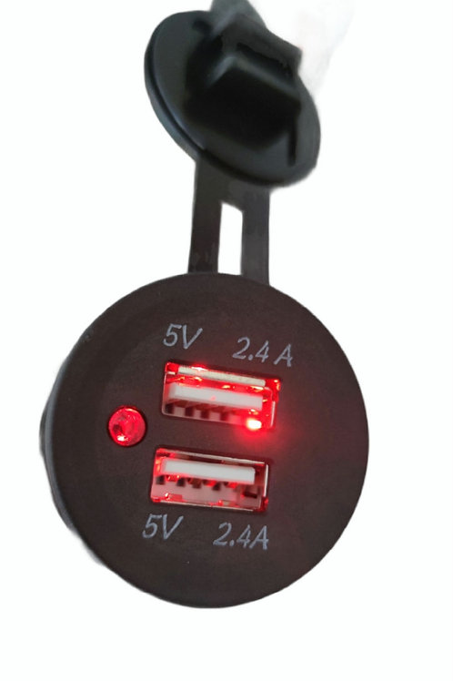 DOUBLE USB SOCKET 4.8 Amp Red LED Light