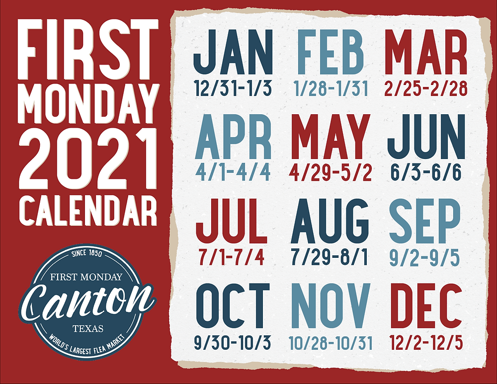 first monday, calendar, 2021 dates