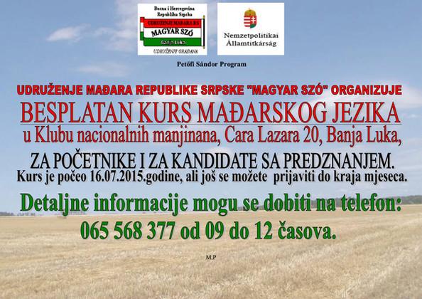 Csütörtökön indul a magyar nyelvtanfolyam Banja Lukában/Uskoro kreće kurs mađarskog jezika