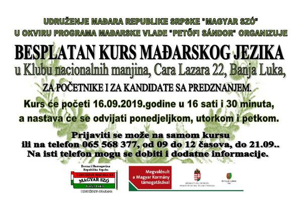 Kezdődik a 7. magyar nyelvtanfolyam Banja Lukaban / Počinje 7. kurs mađarskog jezika u Banjoj Luci