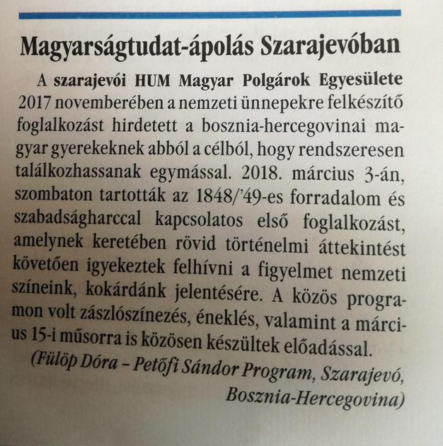 A Bécsi Napló is beszámolt a szarajevói magyarok március 15-i megemlékezéséről