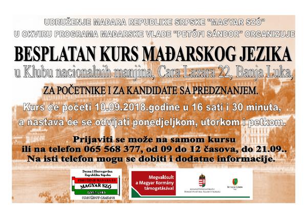 Befejeződött a 6. magyar nyelvtanfolyam/ Završen je 6. kurs mađarskog jezika