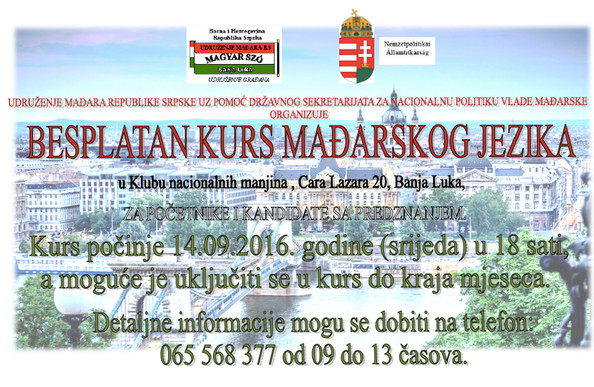 Kezdődik a IV. magyar  nyelvtanfolyam Banja Lukában / Počinje IV kurs mađarskog jezika u Banja Luci
