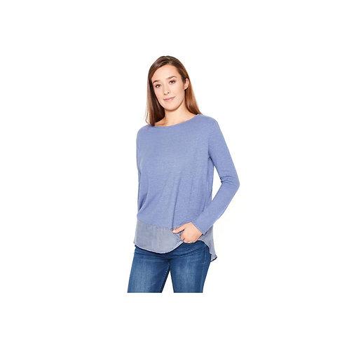 Hanf Shirt mit Layereffekt Steel Blue