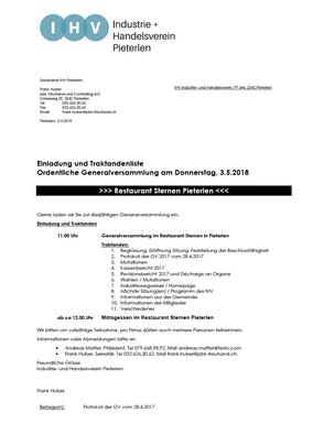 Ordentliche Generalversammlung am Donnerstag, 3. 5. 2018