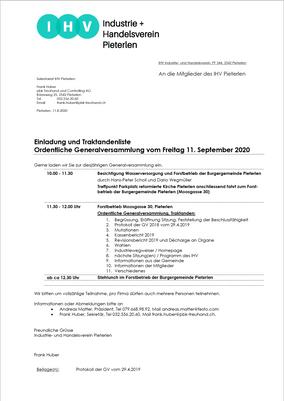 Ordentliche Generalversammlung Freitag, 11.09.2020