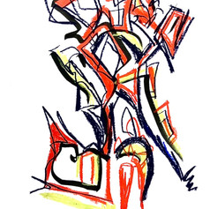 """Untitled 03 - Pen and Crayon on Paper - 10""""x6"""" UNAVAILABLE"""