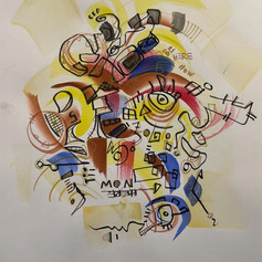 """Be Here Now - Watercolor and Pen on Paper 12"""" x 9"""" - $220"""