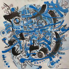 """Ink Day - Watercolor and Ink on Paper 12"""" x 9"""" - $220"""