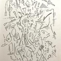 """Rundgren - Pen on paper - 5""""x4"""" - $100"""