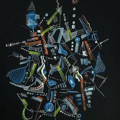 Untitled 2 - Pen on Black Paper - 11' x 15' - $200