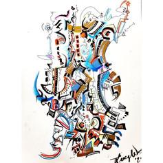 "Suburbanite's Fantasy - Watercolor and Pen on Paper 12"" X 9"" - $220"