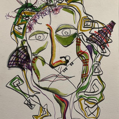 """Self Portrait - Watercolor and Pen on Paper 12"""" x 9"""" N/A"""