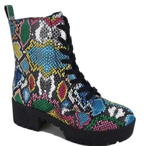 Multi color snake booties