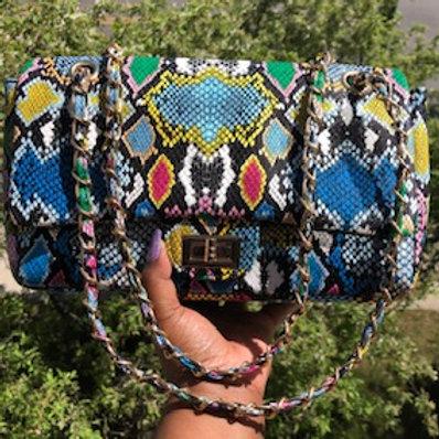 Multi color snake skin purse
