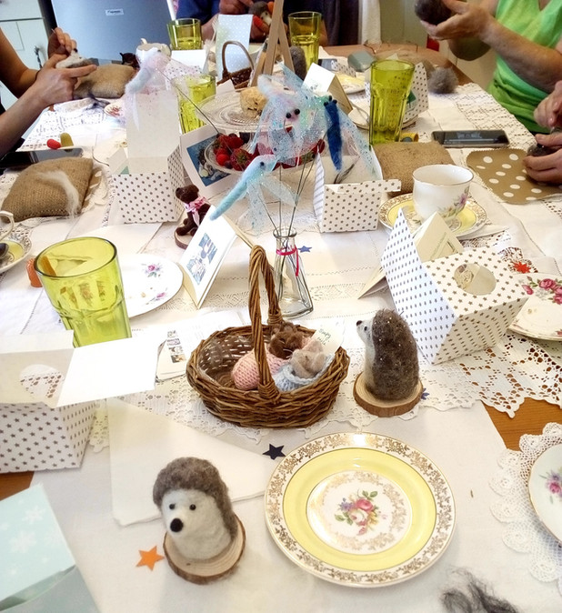 Felted hedgehogs party