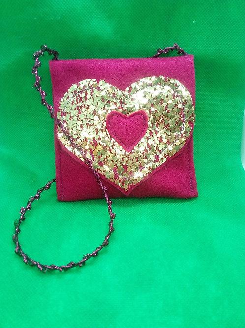 Pink sparkle heart bag