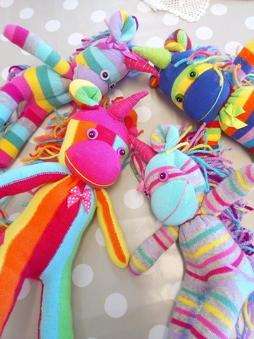 Unicorn sock monkeys