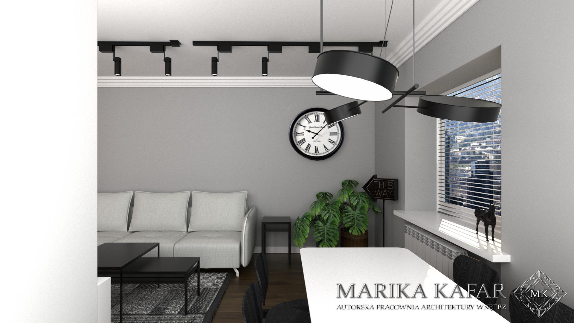 Marika Kafar. Szare ściany w nowoczesnym salonie.
