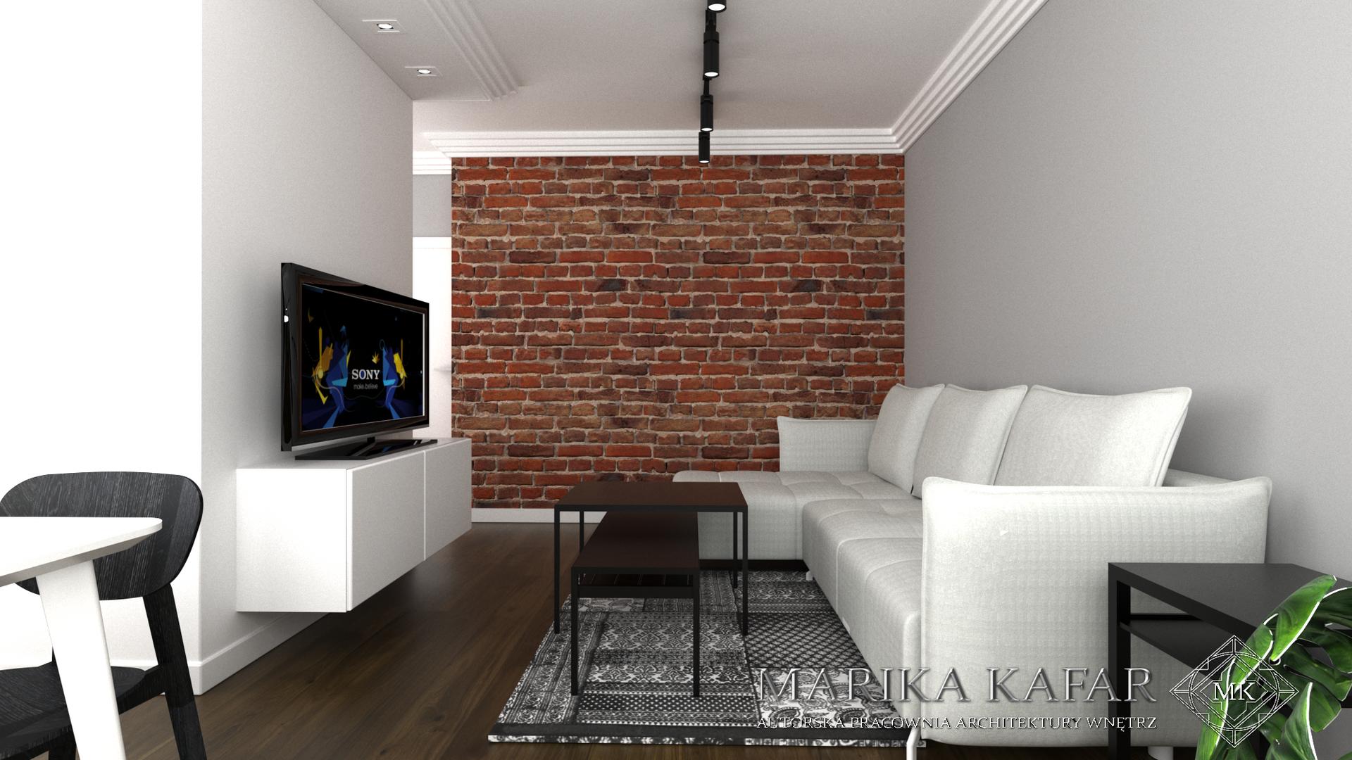 Marika Kafar. Ceglana ściana jako mocny akcent w nowoczesnym salonie.