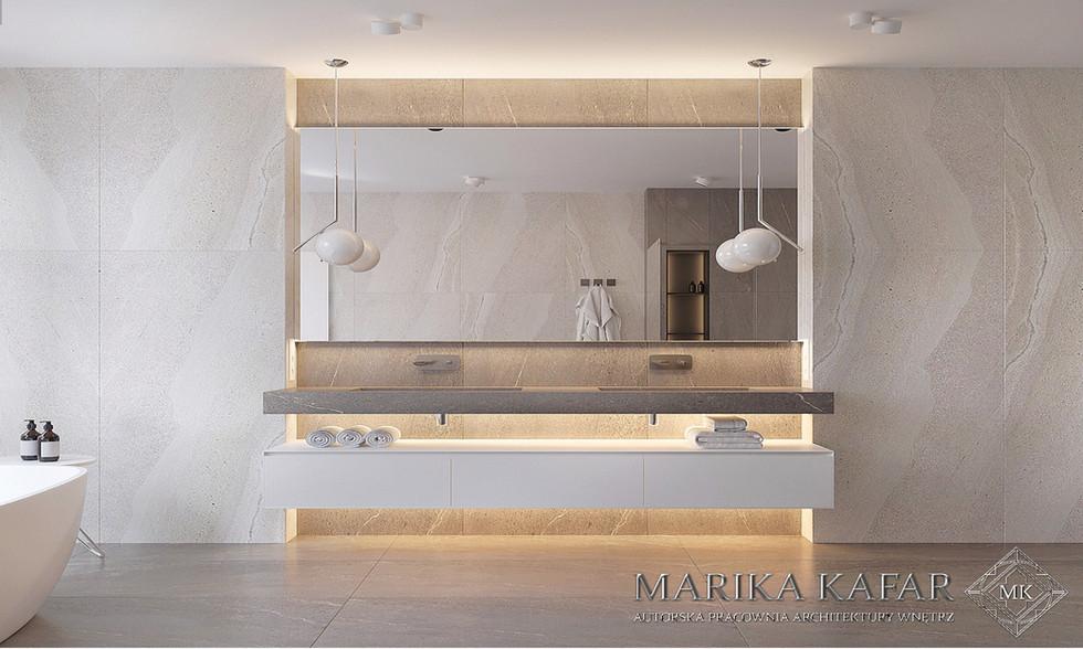 Marika Kafar. Projekt minimalistycznej jasnej łazienki.