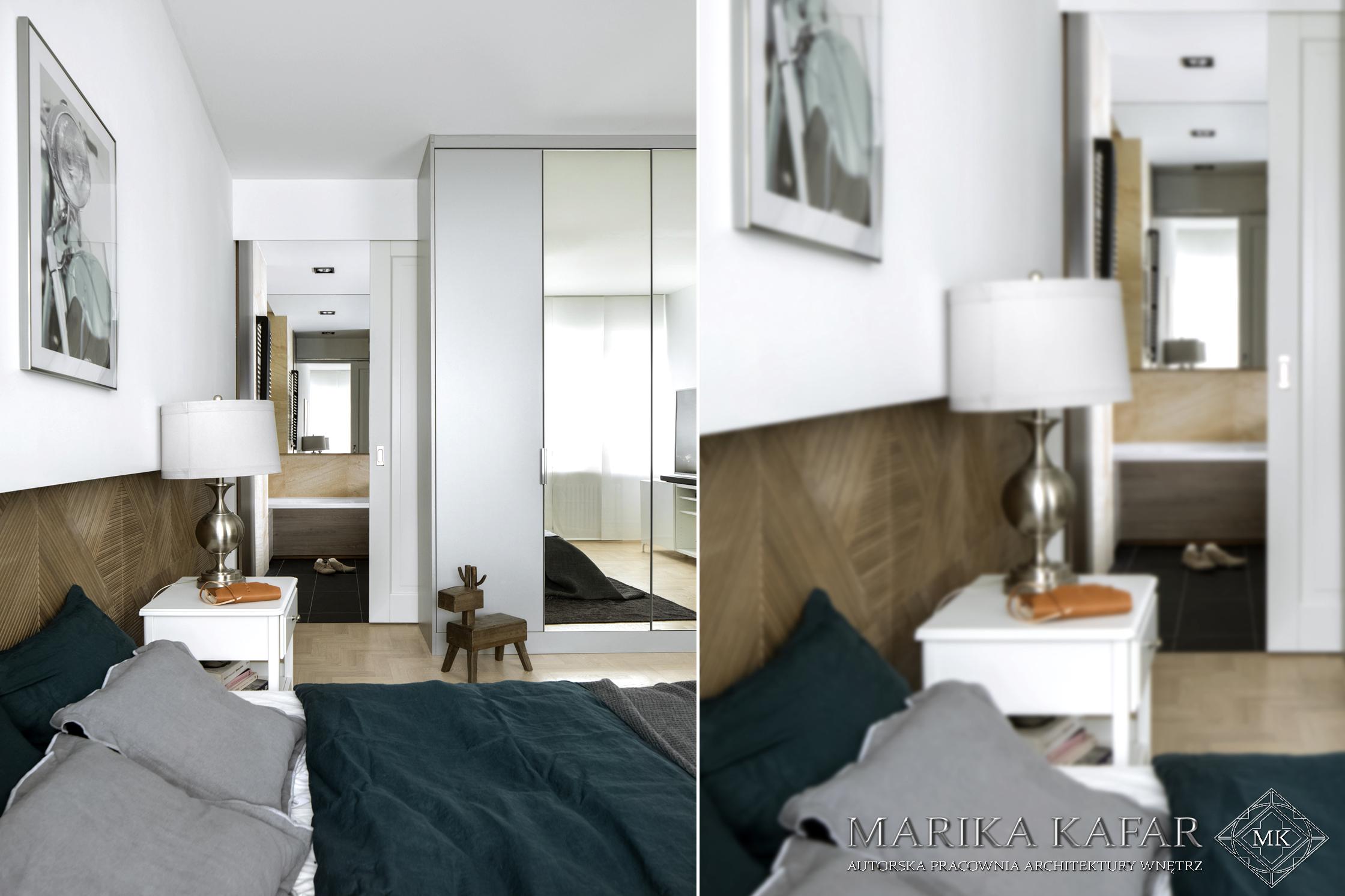 Marika Kafar. Szafa z lustrzanymi frontami w sypialni.
