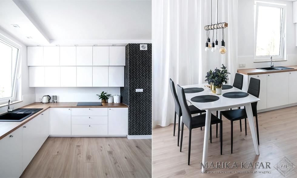 Marika Kafar. Minimalistyczna, jasna kuchnia z drewnianą podłogą i czarnymi elementami.