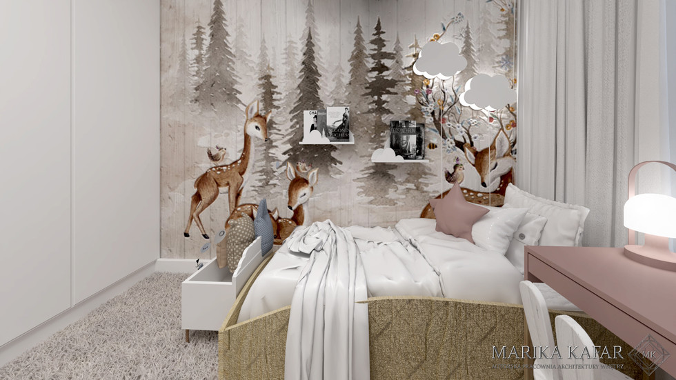 Marika Kafar. Dziecięcy pokój z tapetą na ścianie.